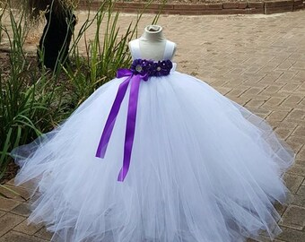 White purple Flower girl Tutu  Dress  Birthday, Wedding, Photo Prop,choose your dress color