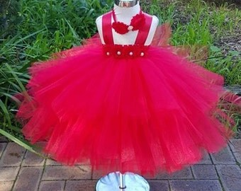 Red layered Tutu dress- Ivory short Tutu Dress- Birthday,flower girl, special occasion