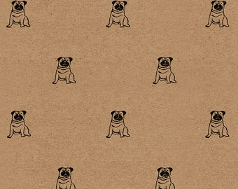 "Pug Wrapping Paper: Kraft Gift Wrap Sheet (70 cm x 50 cm / 27.5"" x 19.5"")"