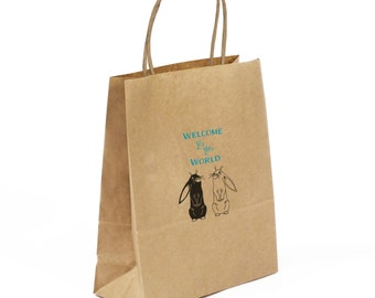 New Baby Gift Bag Set: Small Kraft Gift Bag with Hand Printed Bunnies, Matching Gift Tag & Sealing Sticker