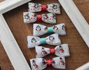 Christmas Bow Tie Clips Set of 6