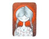 Original ACEO, red pencil illustration, original artwork, art collectible, quirky cute big eyed girl, art trading card, artist trading card