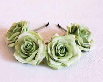 Green Roses Flower Headband / crown, handcrafted, antique, headpiece, elegant, hair, facinator