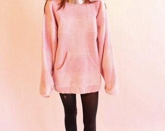 Vintage 80s Bubblegum Pink Drug Rug Pullover