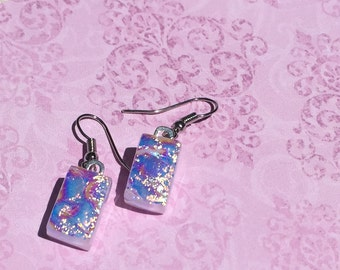 Fused Glass Earrings in Shimmery Pink