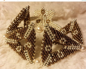 Handmade Beaded Bracelet, OOAK, Seed Bead Embroidered Bracelet, Swarovski Crystal Bead Bracelet, Seed bead Embroidery Bracelet