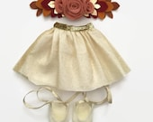 """18"""" Doll Clothes, Doll Clothes 18"""", Girl Doll Clothes, Gold Sparkly Tulle Skirt, Gifts for Girls, Gifts for Babies, Stockings"""