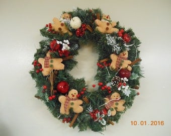 CIJ Christmas In July Christmas Holiday Wreath Gingerbread Wreath Gingerbread Decor Gingerbread Christmas Country Christmas Wreath