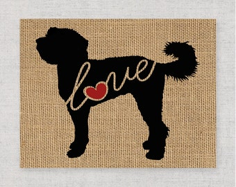 Doodle Love / Labradoodle / Goldendoodle - Burlap Wall Print Decor Gift for Dog Lovers - Personalize Silhouette w/ Name - More Breeds (101s)