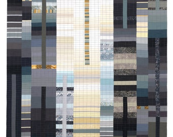 "Art Quilt, Wallhanging, Rising #40 - 5th Avenue. 80""H x 42""W. Pieced and quilted in 100% cotton, hanging sleeve."