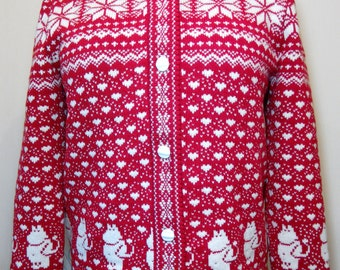Cardigan for adult with moomin pattern