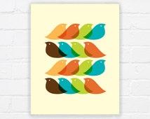 Mid century bird print - printable mid century pattern - bird print - retro print - retro bird print - INSTANT DOWNLOAD