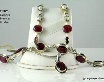 Ruby Jewelry Set, Bracelet Earrings, Pendant Set 925, Sterling Silver Set, Handmade Jewelry, Genuine Gemstones, Faceted Ruby, Valentine Gift