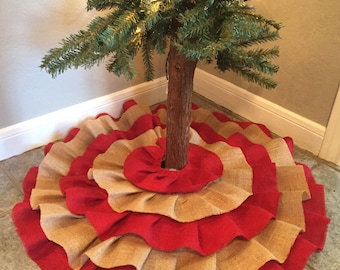 All Burlap!! Red and Natural Burlap Christmas Tree Skirt