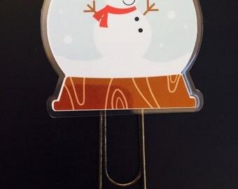 Snowman Snowglobe Planner Bookmark