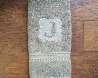 Preppy Embossed Monogram Hand Towel
