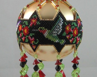 Hummingbirds and Flowers Beaded Ornament