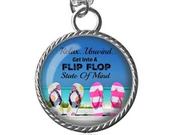 Beach Necklace, Flip Flop Necklace, Relax, Unwind, Summer Image Pendant Key Chain Handmade
