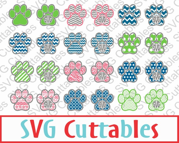 Paw Prints Monogram Svg: Paw Print Monogram Frame SVG EPS DXF Vector By SVGCUTTABLES