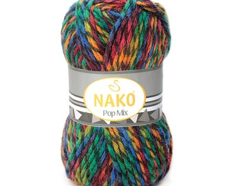Wool & Acrylic High Quality Turkish Yarn Nako Pop Mix- Pack of 5 balls. Winter Yarn for Scarf, pullover and more. Free Shipping