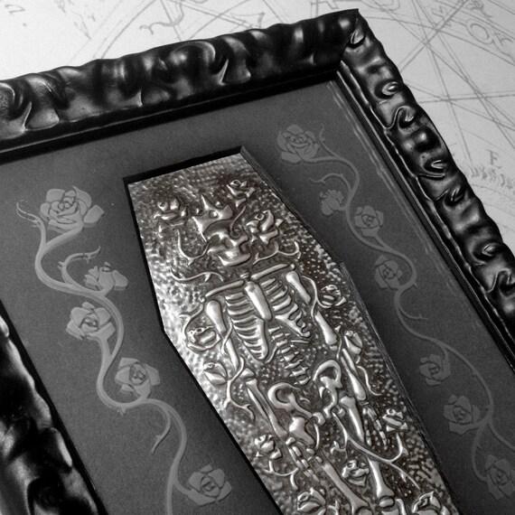 Royal Repose : hand embossed anatomical repoussé metal wall art