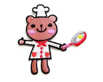 Cute Bear Cooking Chef New Sew on / Iron On Patch Embroidered Applique Size 8.1cm.x8.5cm.