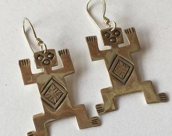Vintage Tribal Southwestern Navajo Sterling Silver Dangling Fetish Earrings Signed Woods