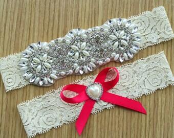vintage lace garter set ,Ivory Garter sets,Wedding garter ,Bridal garter sets,Toss garter,hair bow,with Pearl Crystal Rhinestone, WD45