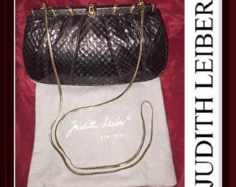 Jeweled Judith Leiber Exotic Snake Skin & Gold Shoulder Chain Shoulder Clutch Bag!
