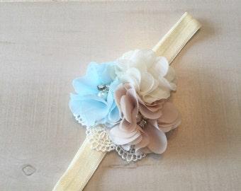 Infant Ivory Baby Headband-Newborn Baby Headband-Baby Blue-Tan-Baby Girl Headband-Coming Home Outfit-Lace Headband-Shower Gift Girl-Infant