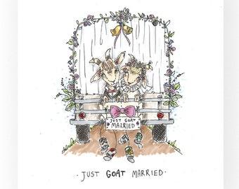 "Art Print ""Just Goat Married wedding, goats, newly wedd, just married, gift idea"