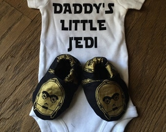 Star Wars Inspired Onsie and Crib Shoe Set