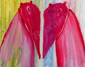 Print from original painting 'Companions', Consciousnesses, dreams, mythology, mystery, love, colour, heart,