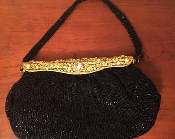 Stunner! 1950's Albro France glass beaded purse with brass frame