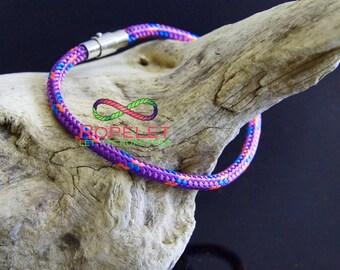 Ropelet, 5mm diameter purple rope with coloured braid, locking clasp. Climbing rope bracelet