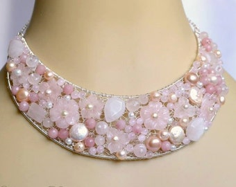 Bridal Pink Quartz Statement Necklace, Pearl Bridal Necklace, Flower Bridal Necklace, Bridesmaid Necklace, Wedding Jewelry