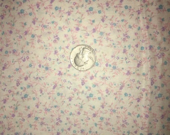 """37"""" x 44"""" vintage white cotton quilting weight fabric with tiny blue-purple-pink flowers-floral-novelty-crafts-feed sack inspired-Free Ship!"""