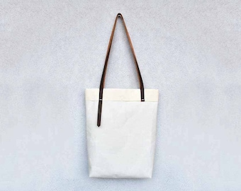 Heavy canvas tote bag with leather straps, minimalist handmade carryall, tote bag
