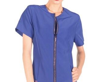 Rhinestone Jacket, Blue Salon Jacket, #800, Salon wear, Dog grooming apron, Dog grooming, Groomers, Rhinestone jacket, Salon, Spa wear