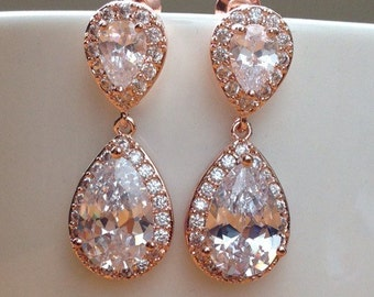 Stunning rose gold crystals and cubic zirconia bridal earrings