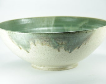 Big ceramic bowl, green bowl, Big Bowl, ceramic bowl, Big Pasta Dish, fruit bowl, Large Stoneware Bowl, wedding gift, Ceramic and pottery