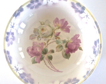 Large Three Crown China Serving Bowl with Pink Roses