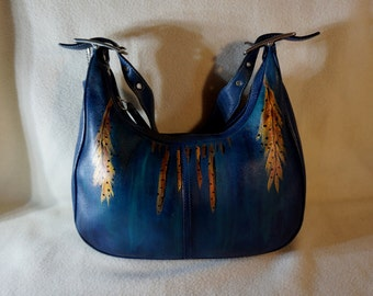 Genuine Coach Leather Handbag, Legacy East West Zoe, G3Q-9342, Hand Painted, ' Southwest Sunset '