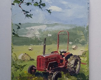 "Tractor in a Field - 7x5"" Oil on canvas (Cotswolds)"