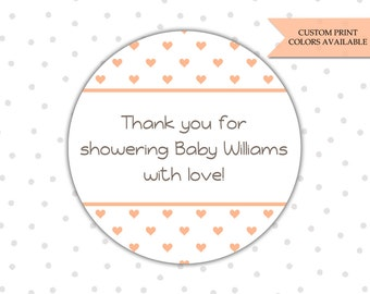 Baby shower stickers - Personalized baby shower stickers - Baby shower thank you stickers - Thank you baby shower stickers (RW023)
