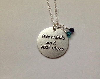 Custom Quote Necklace, Hand-Stamped Jewelry, Aluminum Stamped Disc, Swarovski Crystal in Color of Your Choice