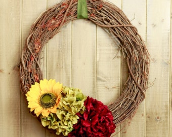 Fall Wreath- Sunflower and Hydrangeas in Burgundy and Olive Green
