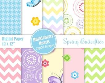 Butterfly Paper, Digital Paper, Digital Scrapbook Paper, Spring Butterflies, Printable