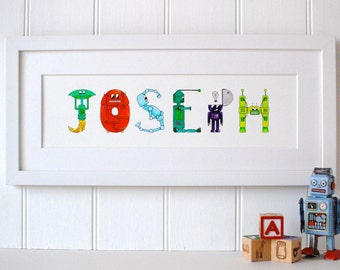 Personalised Robot Name Art prints - 5-7 letters