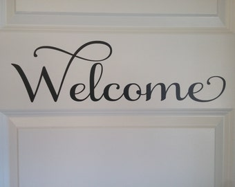 Vinyl Wall Decal  -Welcome front door decal, Wall decal